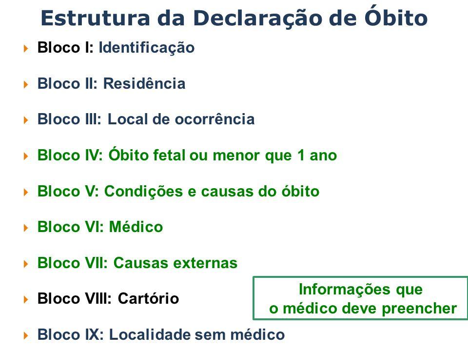 Estrutura da Declaração de Óbito Bloco I: Identificação Bloco II: Residência Bloco III: Local de ocorrência Bloco IV: Óbito fetal ou menor que 1 ano B