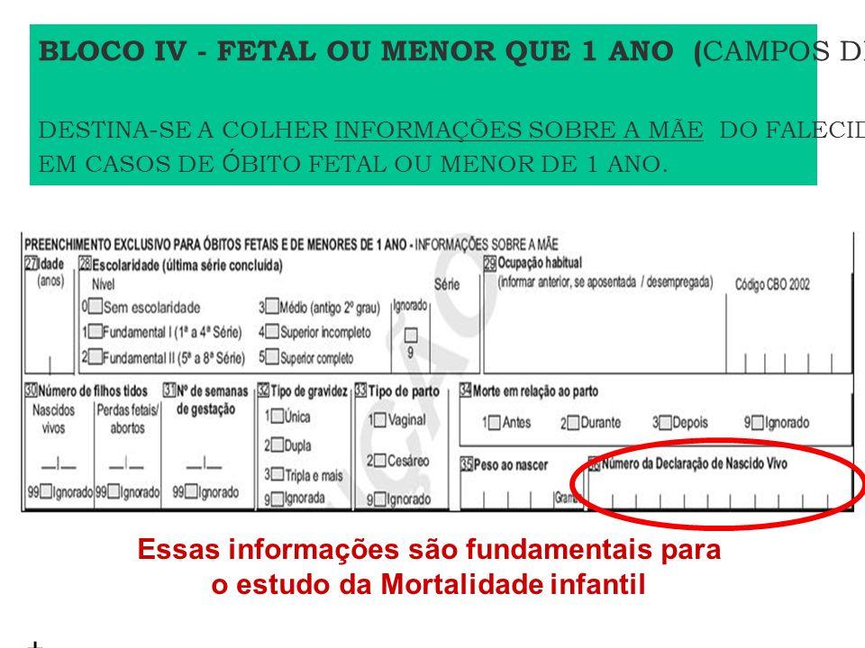 Essas informações são fundamentais para o estudo da Mortalidade infantil + BLOCO IV - FETAL OU MENOR QUE 1 ANO ( CAMPOS DE 27 A 36) DESTINA-SE A COLHE