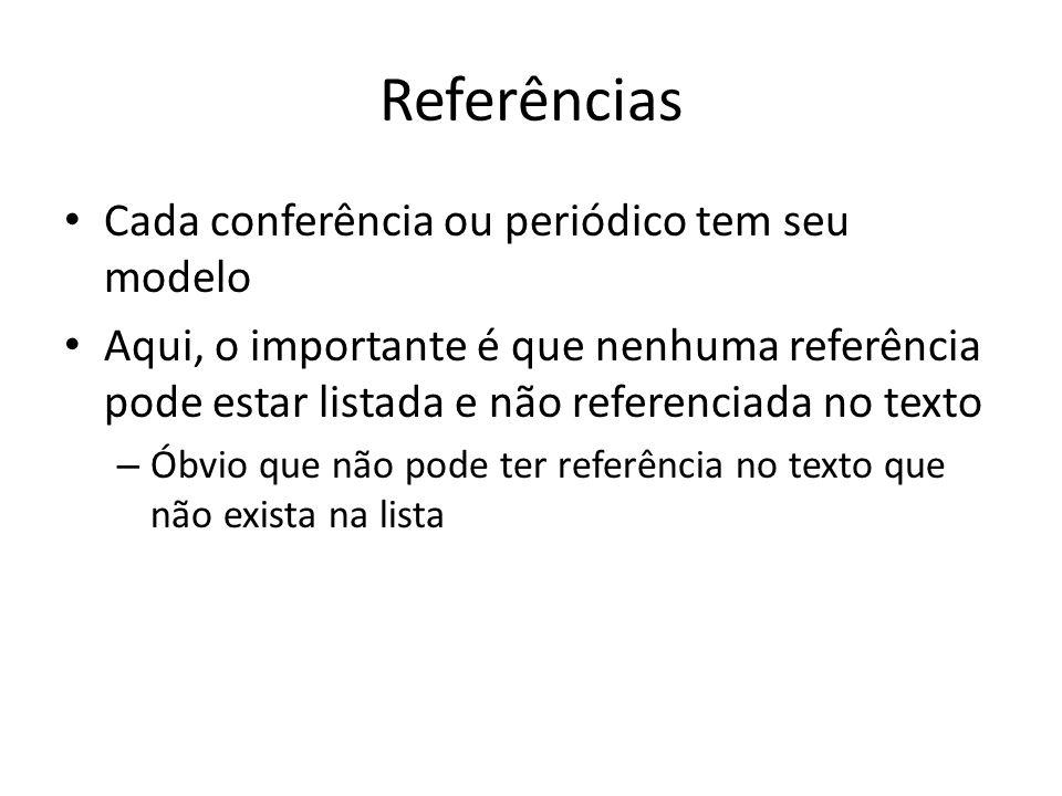 Referências Cada conferência ou periódico tem seu modelo Aqui, o importante é que nenhuma referência pode estar listada e não referenciada no texto –