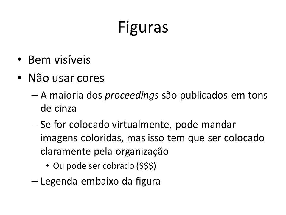 Figuras Bem visíveis Não usar cores – A maioria dos proceedings são publicados em tons de cinza – Se for colocado virtualmente, pode mandar imagens co