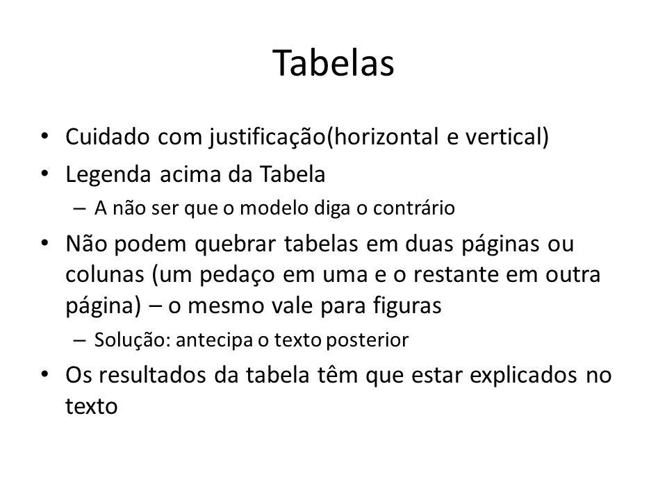 Tabelas Cuidado com justificação(horizontal e vertical) Legenda acima da Tabela – A não ser que o modelo diga o contrário Não podem quebrar tabelas em