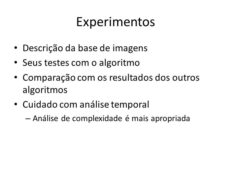 Experimentos Descrição da base de imagens Seus testes com o algoritmo Comparação com os resultados dos outros algoritmos Cuidado com análise temporal
