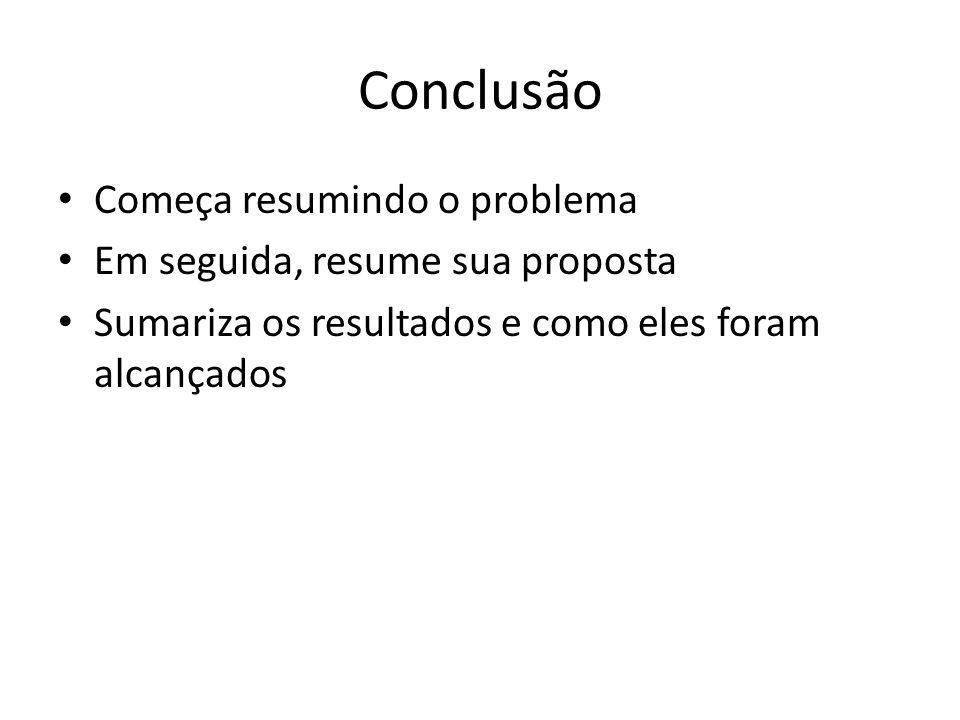 Conclusão Começa resumindo o problema Em seguida, resume sua proposta Sumariza os resultados e como eles foram alcançados