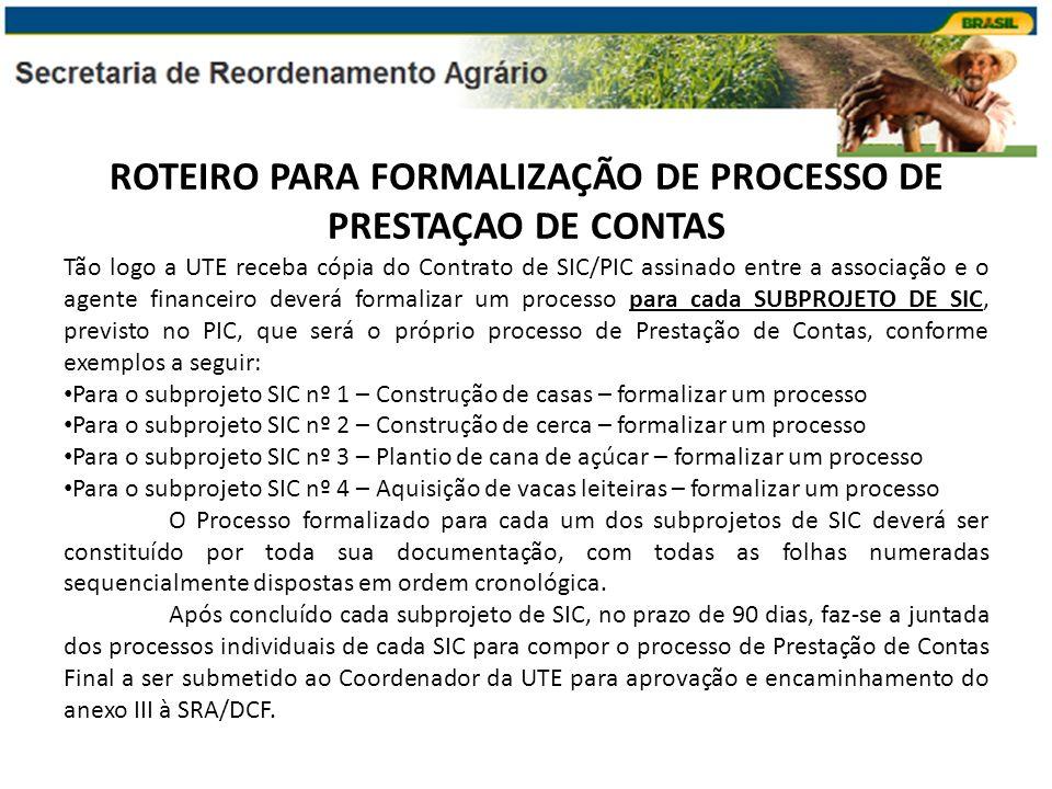 ROTEIRO PARA FORMALIZAÇÃO DE PROCESSO DE PRESTAÇAO DE CONTAS Tão logo a UTE receba cópia do Contrato de SIC/PIC assinado entre a associação e o agente