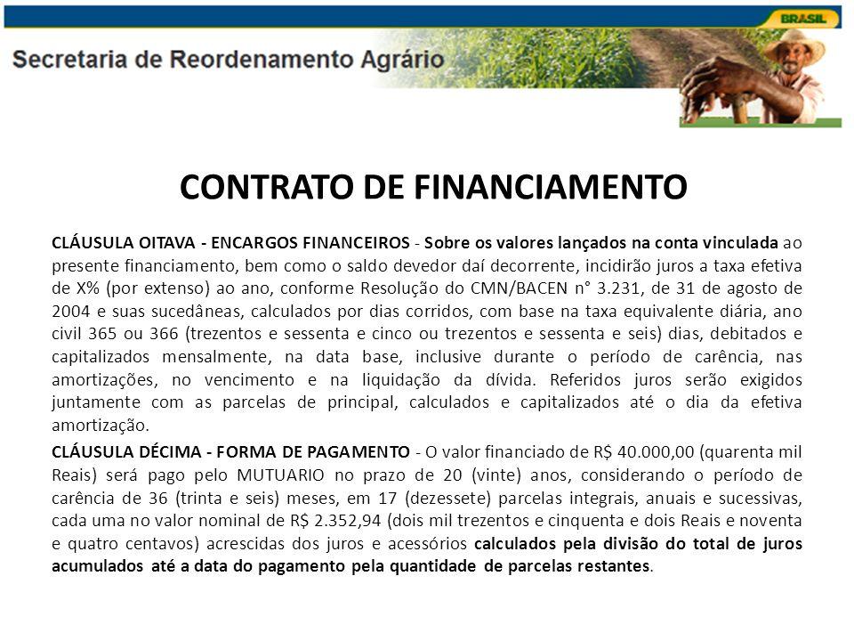 CLÁUSULA OITAVA - ENCARGOS FINANCEIROS - Sobre os valores lançados na conta vinculada ao presente financiamento, bem como o saldo devedor daí decorren