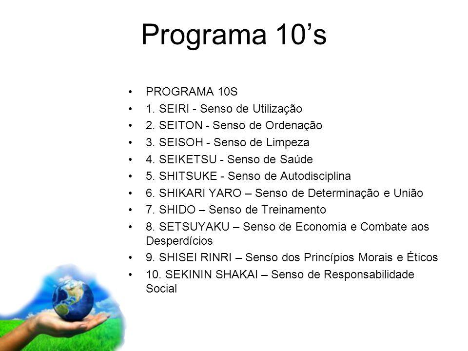 Page 15 Programa 10s PROGRAMA 10S 1. SEIRI - Senso de Utilização 2. SEITON - Senso de Ordenação 3. SEISOH - Senso de Limpeza 4. SEIKETSU - Senso de Sa