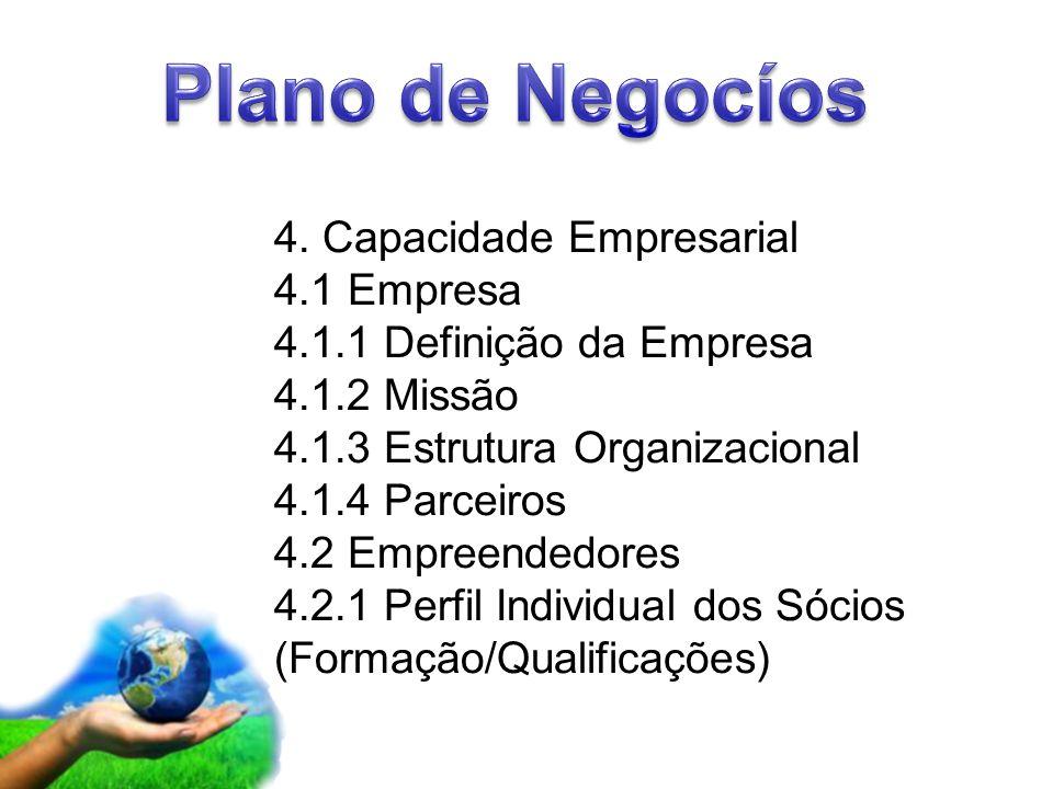 Page 6 4. Capacidade Empresarial 4.1 Empresa 4.1.1 Definição da Empresa 4.1.2 Missão 4.1.3 Estrutura Organizacional 4.1.4 Parceiros 4.2 Empreendedores