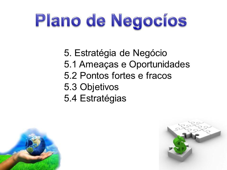 Page 7 5. Estratégia de Negócio 5.1 Ameaças e Oportunidades 5.2 Pontos fortes e fracos 5.3 Objetivos 5.4 Estratégias
