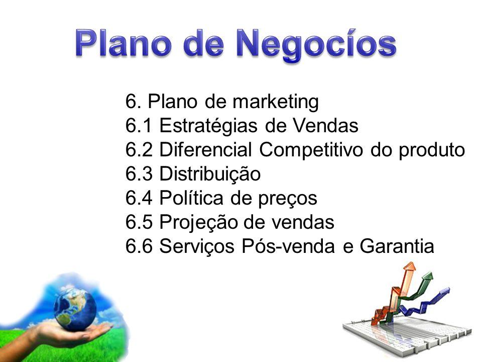 Page 8 6. Plano de marketing 6.1 Estratégias de Vendas 6.2 Diferencial Competitivo do produto 6.3 Distribuição 6.4 Política de preços 6.5 Projeção de