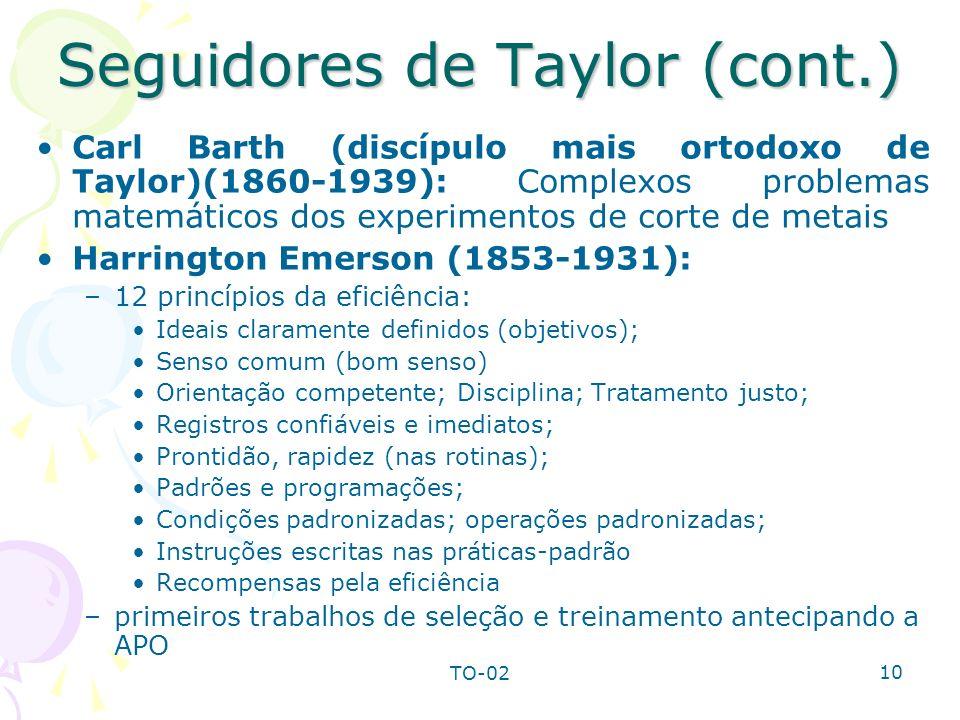 TO-02 10 Seguidores de Taylor (cont.) Carl Barth (discípulo mais ortodoxo de Taylor)(1860-1939): Complexos problemas matemáticos dos experimentos de c