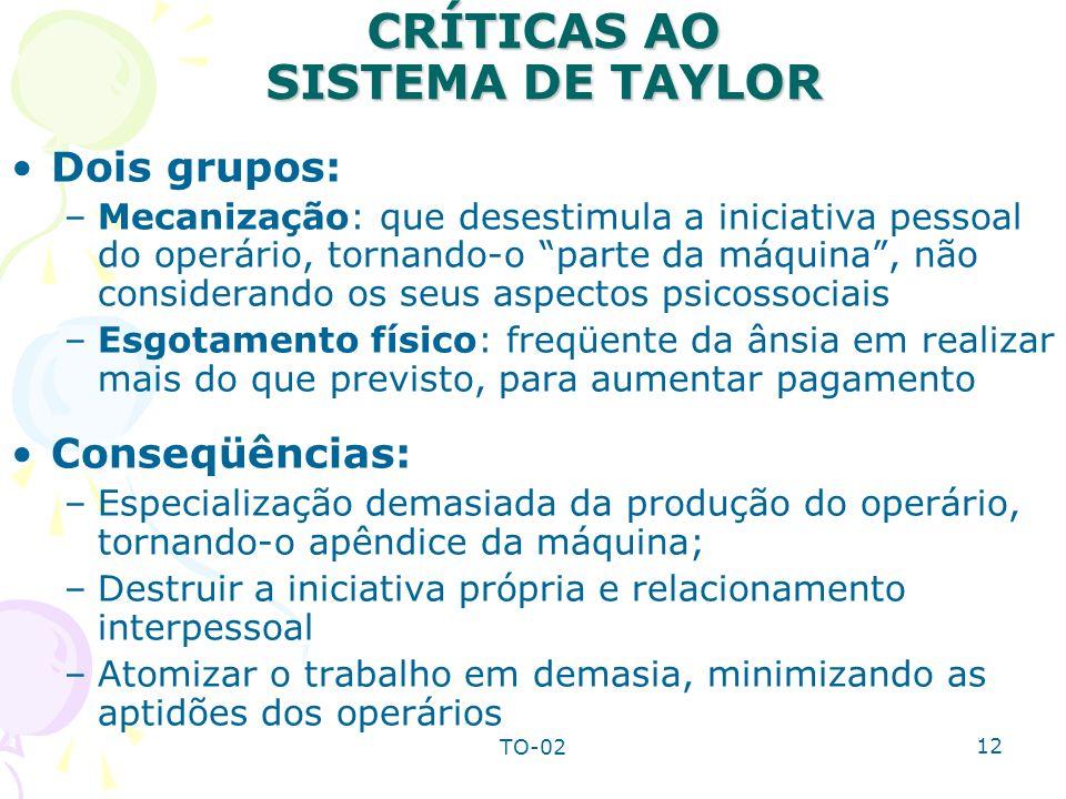 TO-02 12 CRÍTICAS AO SISTEMA DE TAYLOR Dois grupos: –Mecanização: que desestimula a iniciativa pessoal do operário, tornando-o parte da máquina, não c