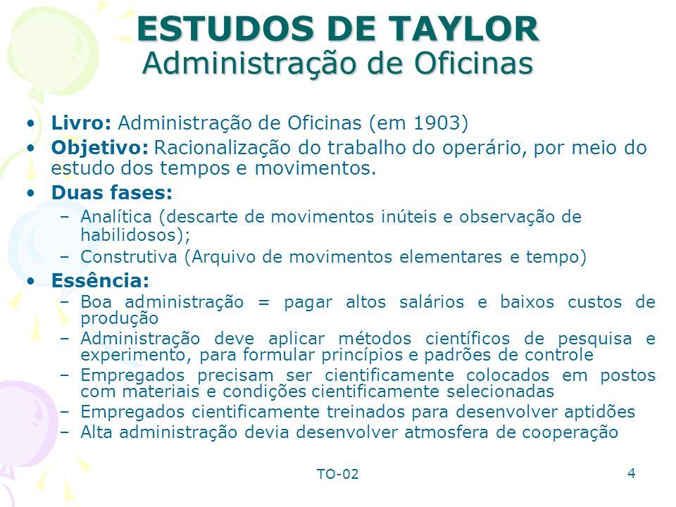 TO-02 4 ESTUDOS DE TAYLOR Administração de Oficinas Livro: Administração de Oficinas (em 1903) Objetivo: Racionalização do trabalho do operário, por m