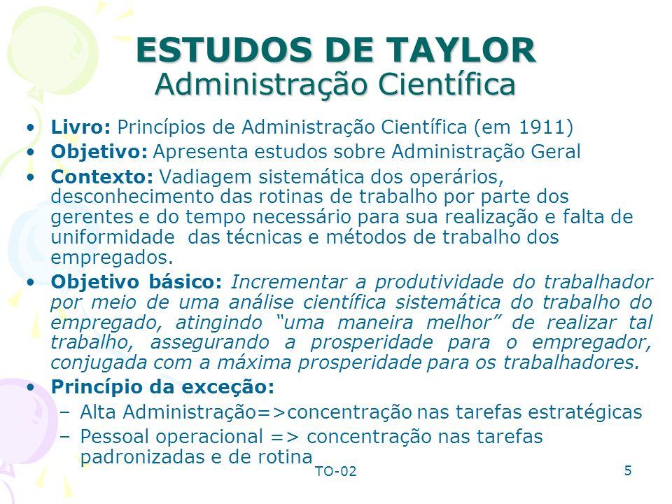 TO-02 5 ESTUDOS DE TAYLOR Administração Científica Livro: Princípios de Administração Científica (em 1911) Objetivo: Apresenta estudos sobre Administr