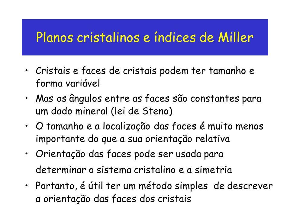 Planos cristalinos e índices de Miller Cristais e faces de cristais podem ter tamanho e forma variável Mas os ângulos entre as faces são constantes pa