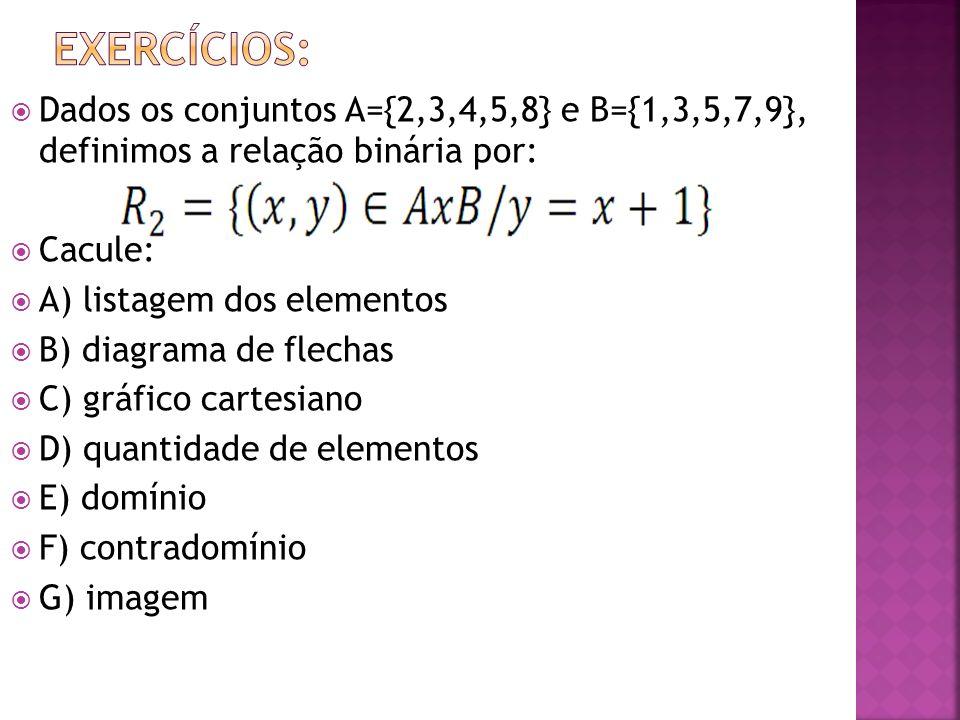 Dados os conjuntos A={2,3,4,5,8} e B={1,3,5,7,9}, definimos a relação binária por: Cacule: A) listagem dos elementos B) diagrama de flechas C) gráfico