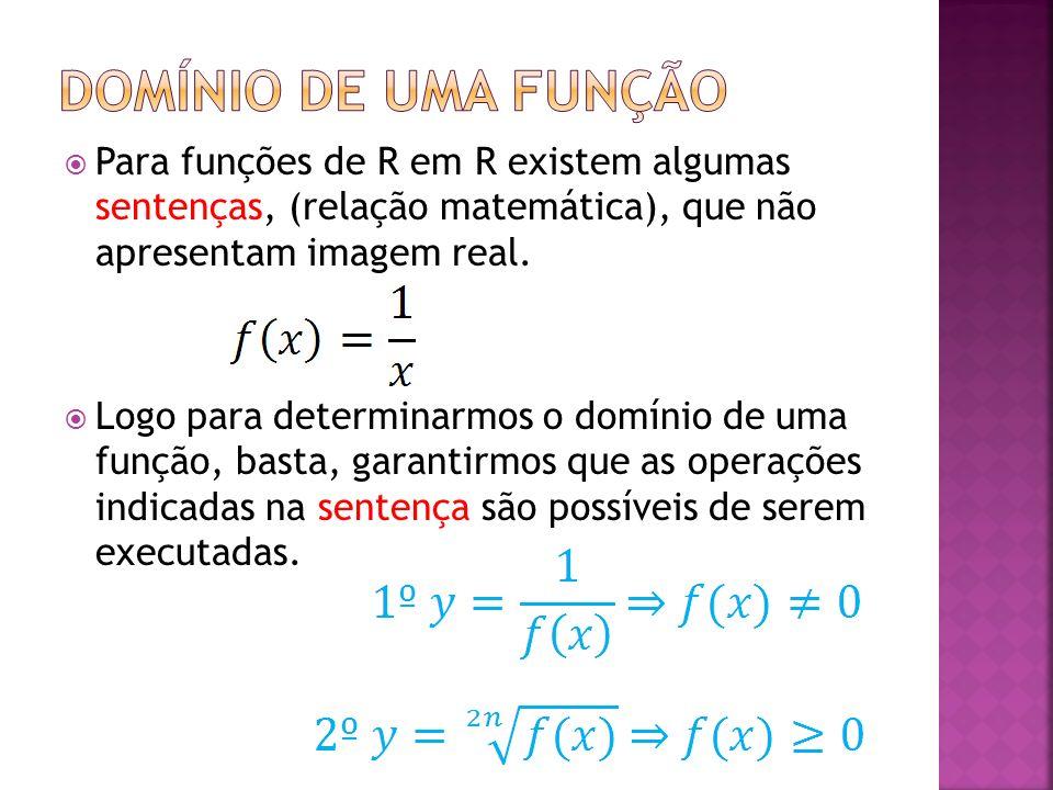 Para funções de R em R existem algumas sentenças, (relação matemática), que não apresentam imagem real. Logo para determinarmos o domínio de uma funçã