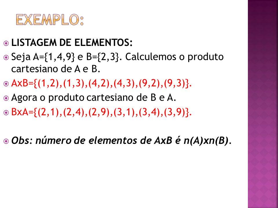 LISTAGEM DE ELEMENTOS: Seja A={1,4,9} e B={2,3}. Calculemos o produto cartesiano de A e B. AxB={(1,2),(1,3),(4,2),(4,3),(9,2),(9,3)}. Agora o produto