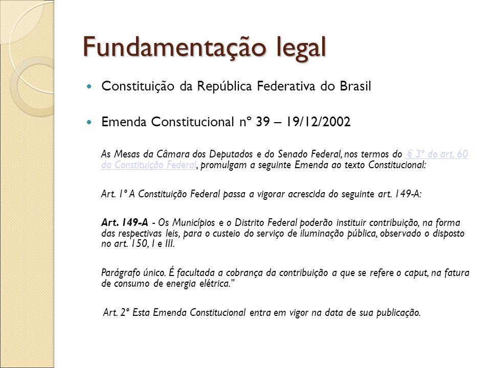 Fundamentação legal Leis e Decretos Municipais A partir da Emenda Constitucional nº 39 – 19/12/2002, os municípios criam as leis que estabelecem os critérios de cobrança e isenção aos contribuintes.