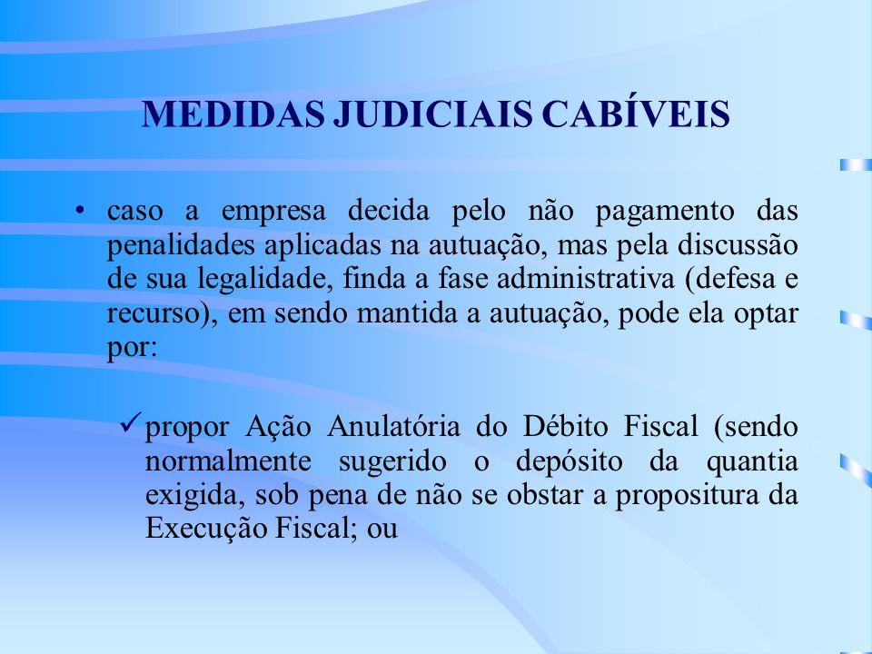 MEDIDAS JUDICIAIS CABÍVEIS caso a empresa decida pelo não pagamento das penalidades aplicadas na autuação, mas pela discussão de sua legalidade, finda