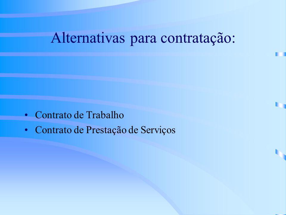 Alternativas para contratação: Contrato de Trabalho Contrato de Prestação de Serviços