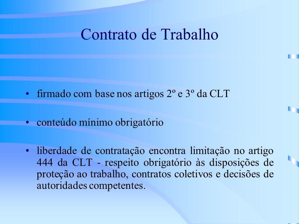 Contrato de Trabalho firmado com base nos artigos 2º e 3º da CLT conteúdo mínimo obrigatório liberdade de contratação encontra limitação no artigo 444