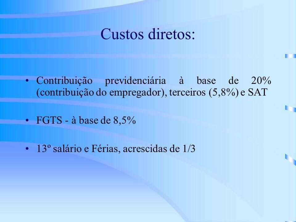 Custos diretos: Contribuição previdenciária à base de 20% (contribuição do empregador), terceiros (5,8%) e SAT FGTS - à base de 8,5% 13º salário e Fér