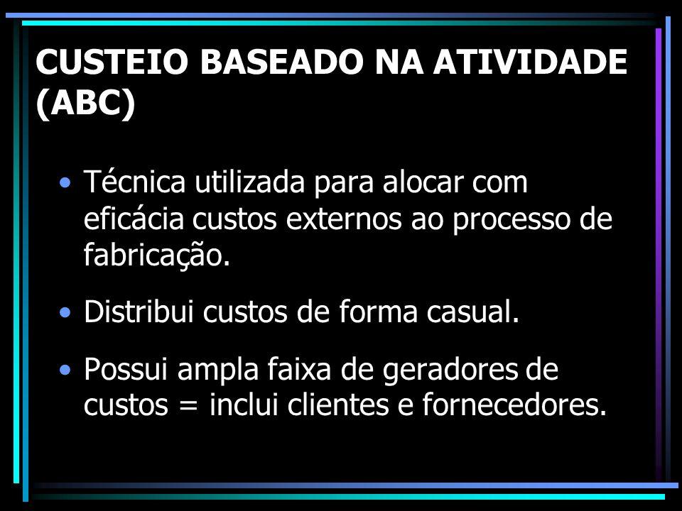 CUSTEIO BASEADO NA ATIVIDADE (ABC) Técnica utilizada para alocar com eficácia custos externos ao processo de fabricação. Distribui custos de forma cas