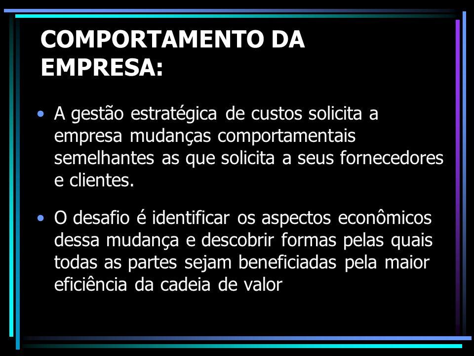 COMPORTAMENTO DA EMPRESA: A gestão estratégica de custos solicita a empresa mudanças comportamentais semelhantes as que solicita a seus fornecedores e