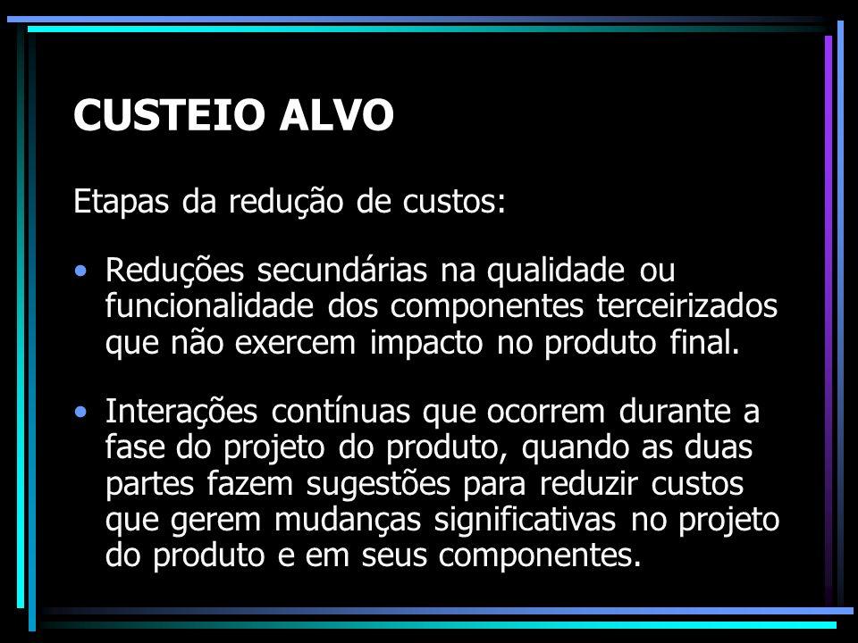 CUSTEIO ALVO Etapas da redução de custos: Reduções secundárias na qualidade ou funcionalidade dos componentes terceirizados que não exercem impacto no
