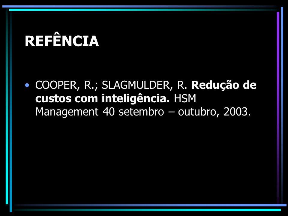 REFÊNCIA COOPER, R.; SLAGMULDER, R. Redução de custos com inteligência. HSM Management 40 setembro – outubro, 2003.