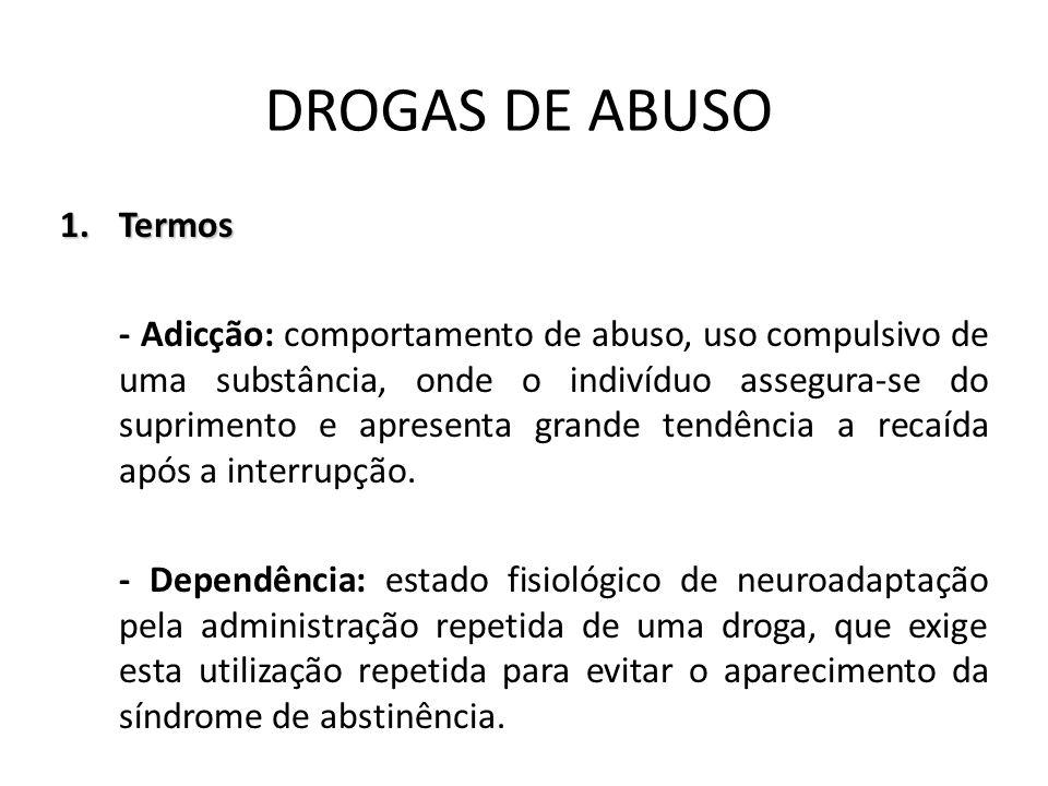 DROGAS DE ABUSO 1.Termos - Adicção: comportamento de abuso, uso compulsivo de uma substância, onde o indivíduo assegura-se do suprimento e apresenta g