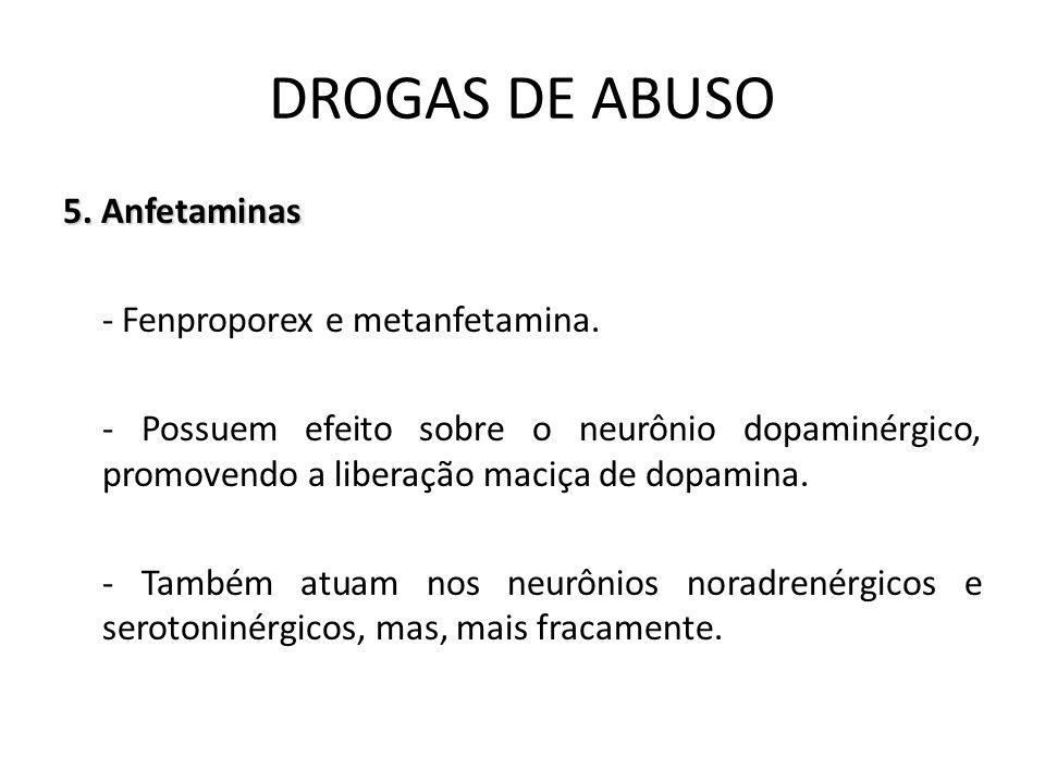 5. Anfetaminas - Fenproporex e metanfetamina. - Possuem efeito sobre o neurônio dopaminérgico, promovendo a liberação maciça de dopamina. - Também atu