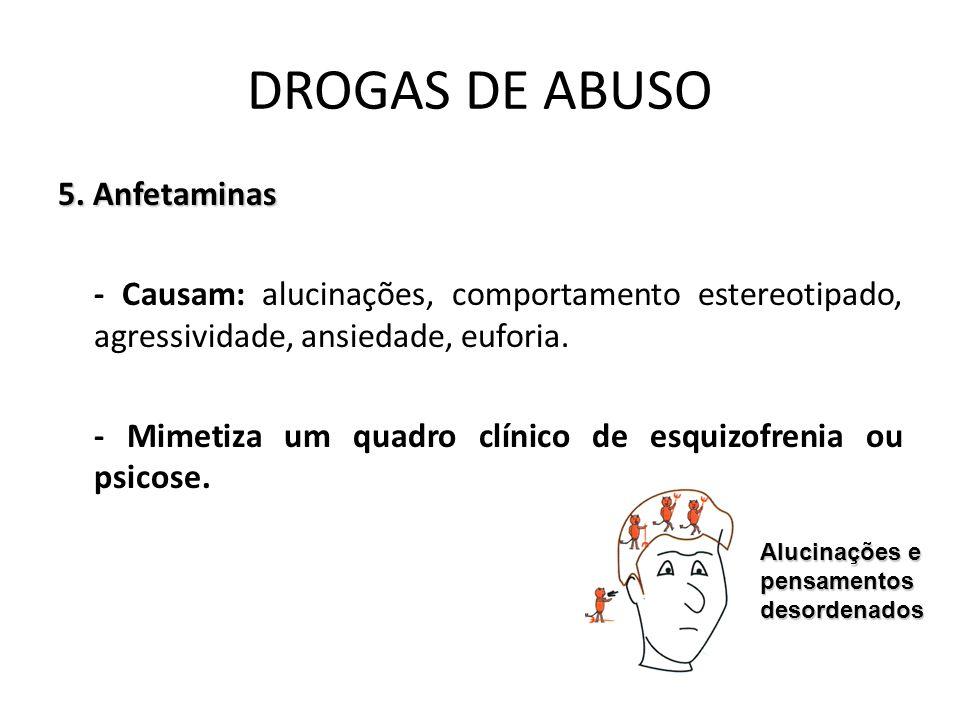 5. Anfetaminas - Causam: alucinações, comportamento estereotipado, agressividade, ansiedade, euforia. - Mimetiza um quadro clínico de esquizofrenia ou