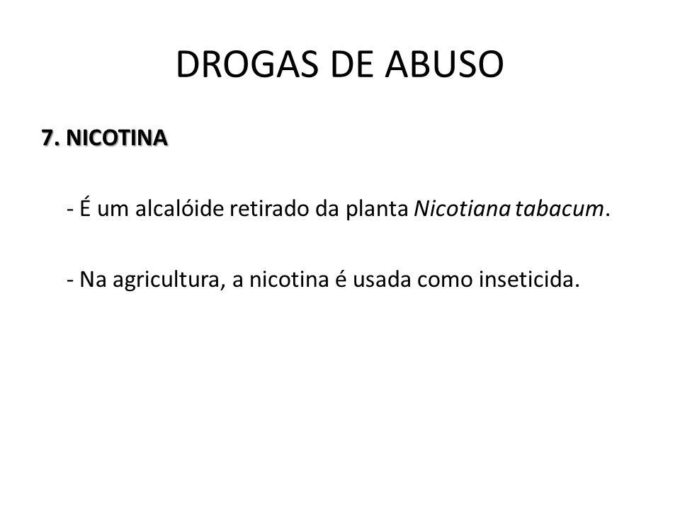 7. NICOTINA - É um alcalóide retirado da planta Nicotiana tabacum. - Na agricultura, a nicotina é usada como inseticida. DROGAS DE ABUSO