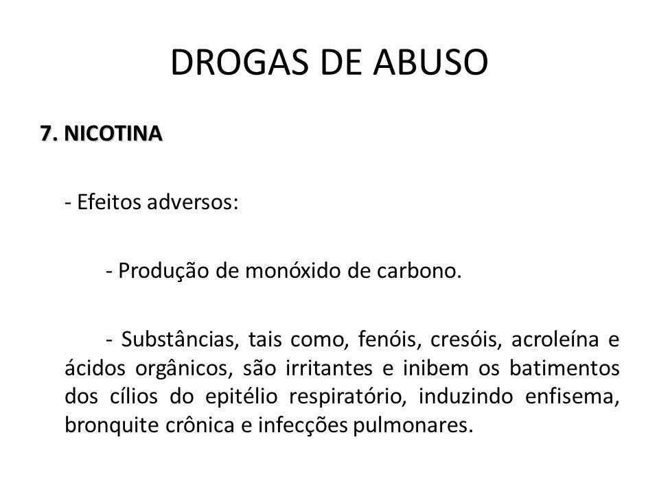 7. NICOTINA - Efeitos adversos: - Produção de monóxido de carbono. - Substâncias, tais como, fenóis, cresóis, acroleína e ácidos orgânicos, são irrita