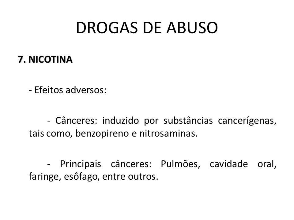 7. NICOTINA - Efeitos adversos: - Cânceres: induzido por substâncias cancerígenas, tais como, benzopireno e nitrosaminas. - Principais cânceres: Pulmõ