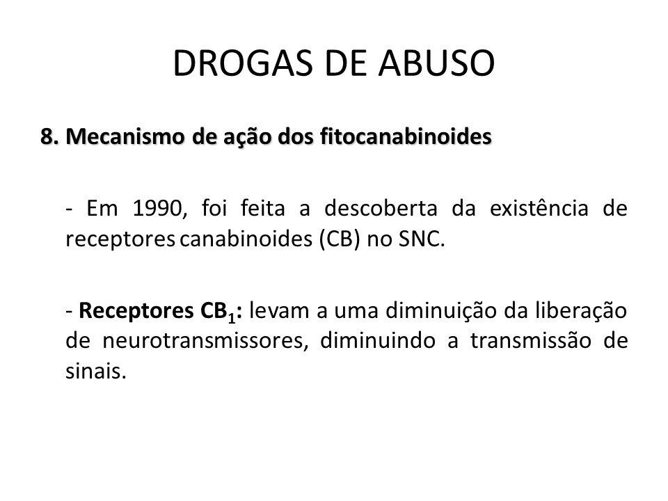8. Mecanismo de ação dos fitocanabinoides - Em 1990, foi feita a descoberta da existência de receptores canabinoides (CB) no SNC. - Receptores CB 1 :
