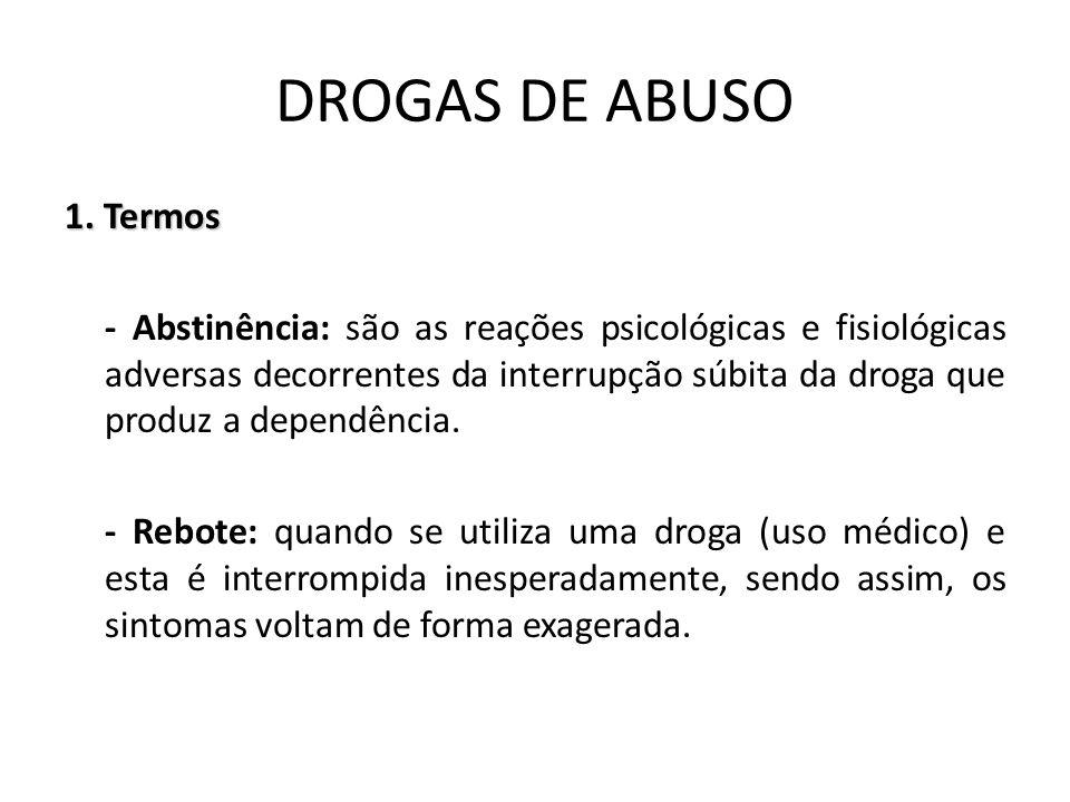 1. Termos - Abstinência: são as reações psicológicas e fisiológicas adversas decorrentes da interrupção súbita da droga que produz a dependência. - Re