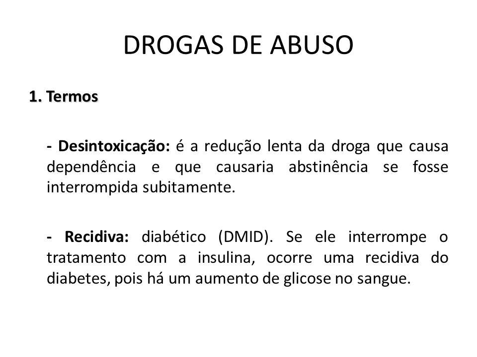 1. Termos - Desintoxicação: é a redução lenta da droga que causa dependência e que causaria abstinência se fosse interrompida subitamente. - Recidiva: