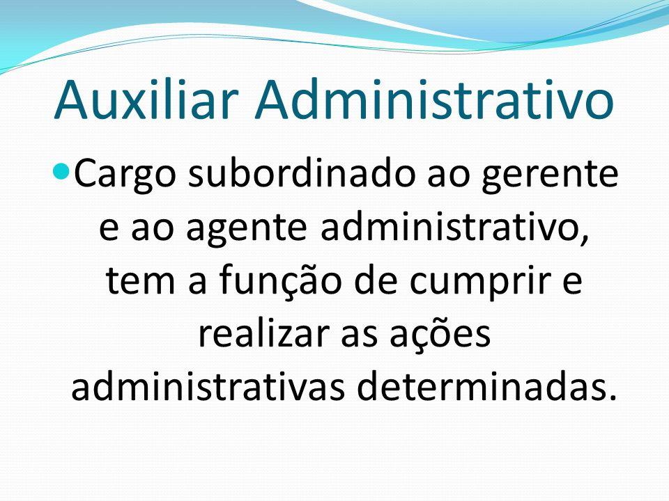 Auxiliar Administrativo Cargo subordinado ao gerente e ao agente administrativo, tem a função de cumprir e realizar as ações administrativas determina