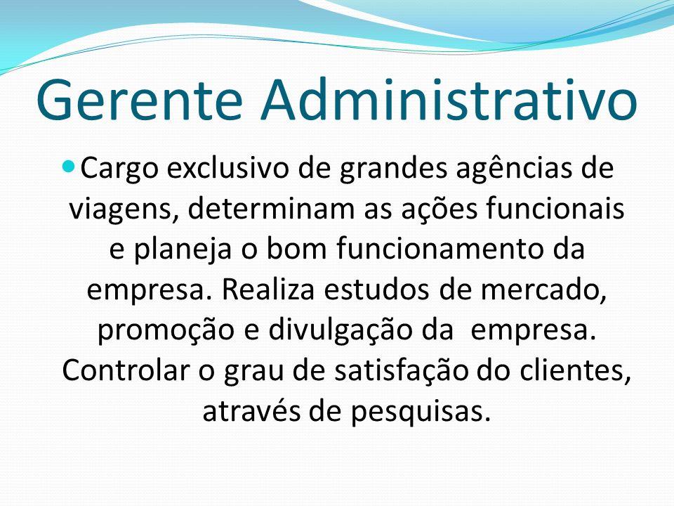 Gerente Administrativo Cargo exclusivo de grandes agências de viagens, determinam as ações funcionais e planeja o bom funcionamento da empresa. Realiz