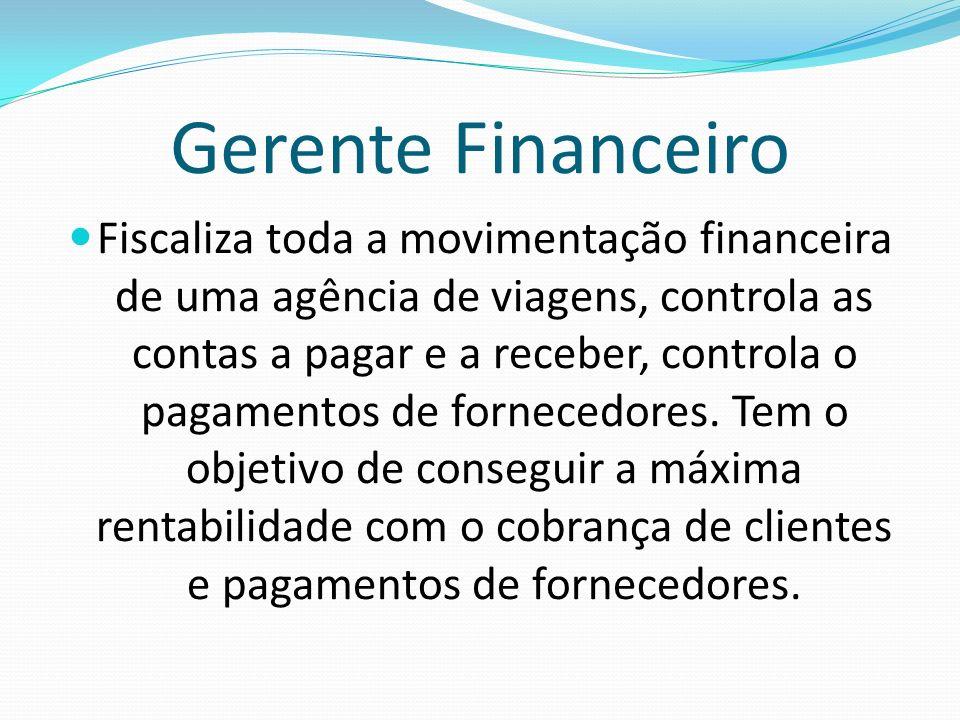 Gerente Financeiro Fiscaliza toda a movimentação financeira de uma agência de viagens, controla as contas a pagar e a receber, controla o pagamentos d
