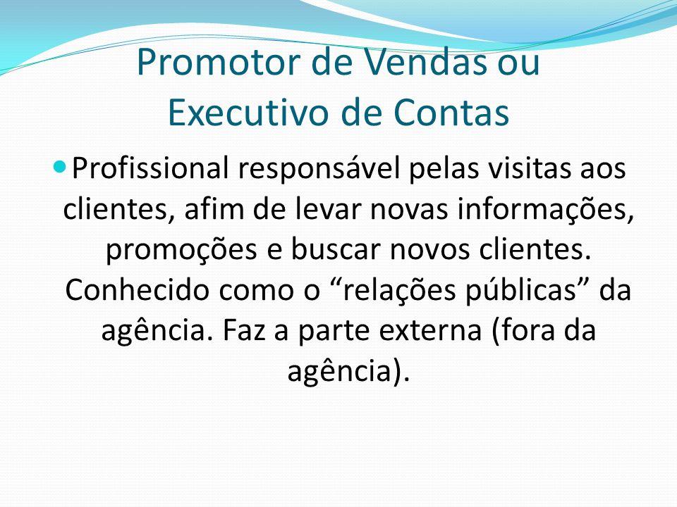 Promotor de Vendas ou Executivo de Contas Profissional responsável pelas visitas aos clientes, afim de levar novas informações, promoções e buscar nov