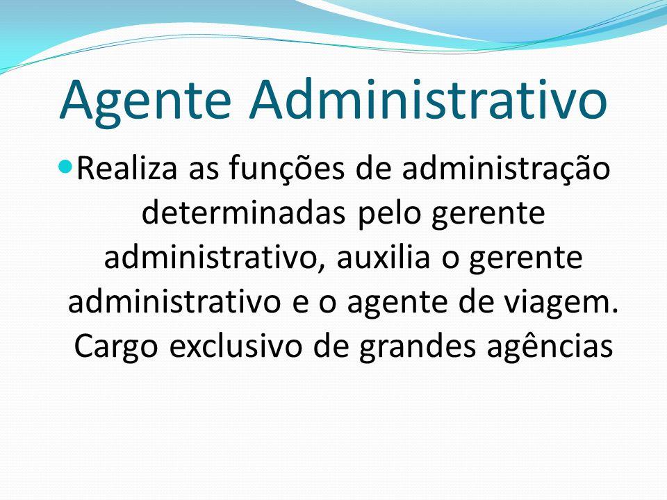 Agente Administrativo Realiza as funções de administração determinadas pelo gerente administrativo, auxilia o gerente administrativo e o agente de via