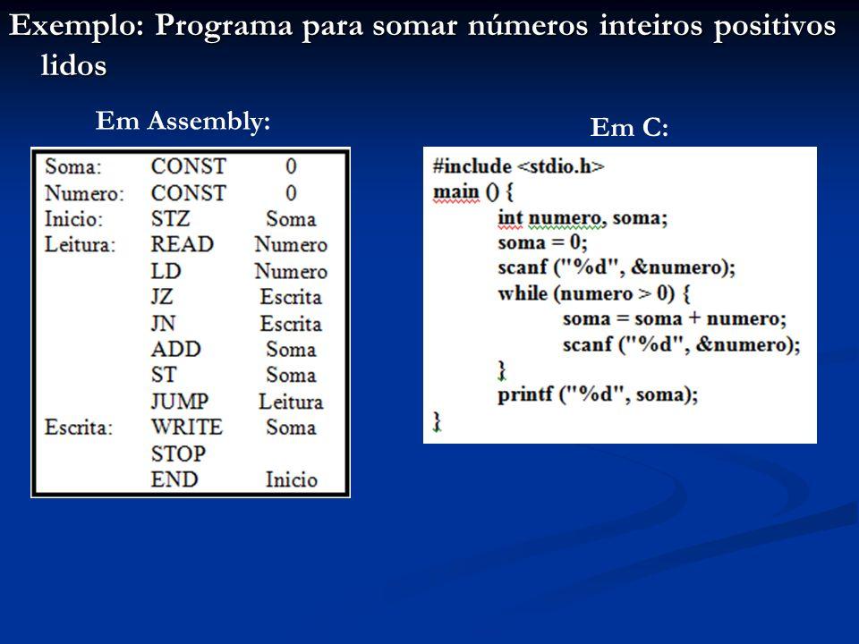 Exemplo: Programa para somar números inteiros positivos lidos Em Assembly: Em C: