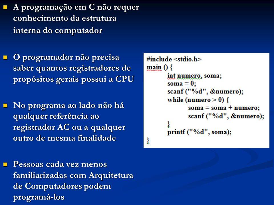 A programação em C não requer conhecimento da estrutura interna do computador A programação em C não requer conhecimento da estrutura interna do compu