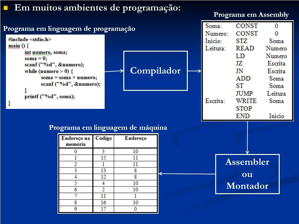 Em muitos ambientes de programação: Em muitos ambientes de programação: Compilador Assembler ou Montador Programa em linguagem de programação Programa