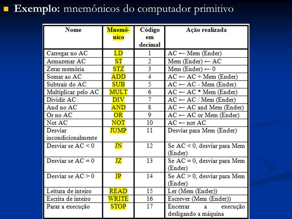 Exemplo: mnemônicos do computador primitivo Exemplo: mnemônicos do computador primitivo
