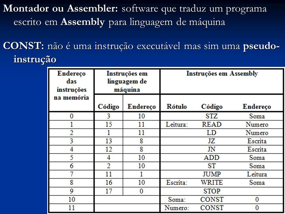 Montador ou Assembler: software que traduz um programa escrito em Assembly para linguagem de máquina CONST: não é uma instrução executável mas sim uma