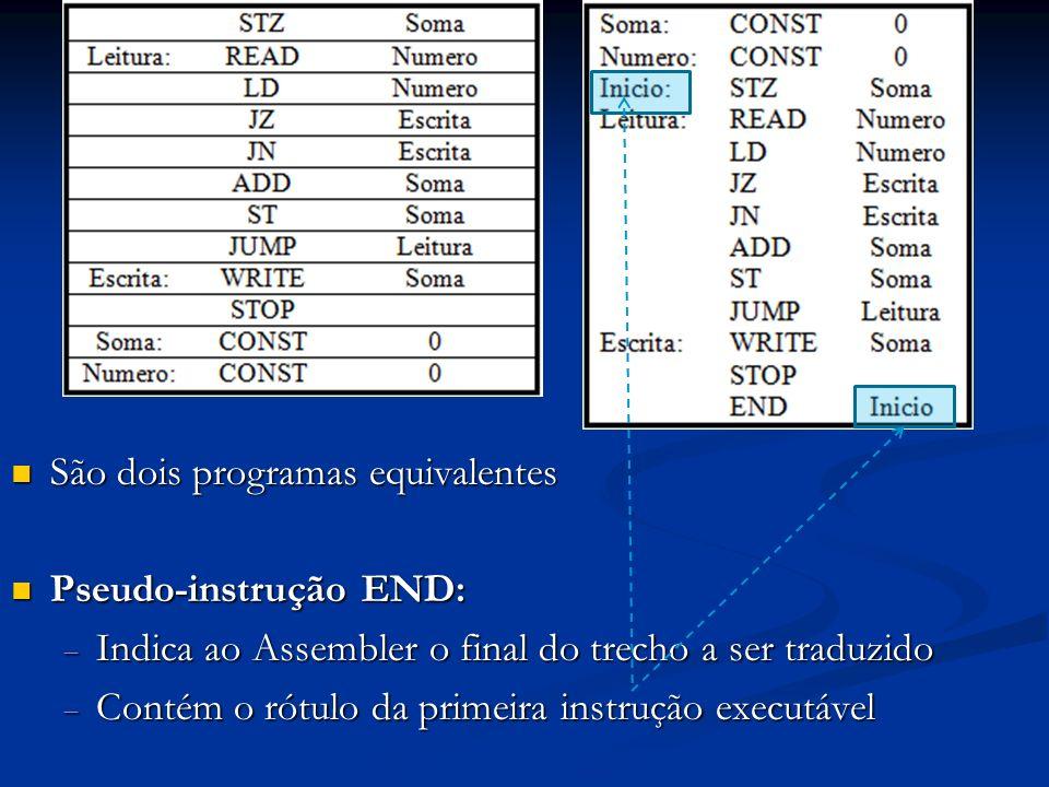 São dois programas equivalentes São dois programas equivalentes Pseudo-instrução END: Pseudo-instrução END: Indica ao Assembler o final do trecho a se